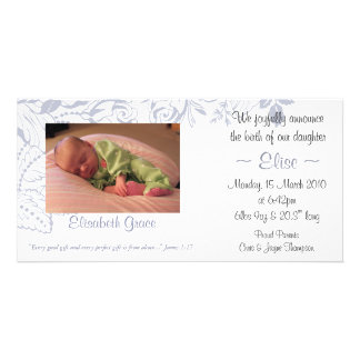 Lilac Floral Baby Announcement 4x8 Customized Photo Card