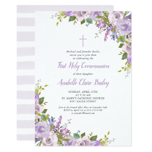 Lilac Floral First Communion Invitation