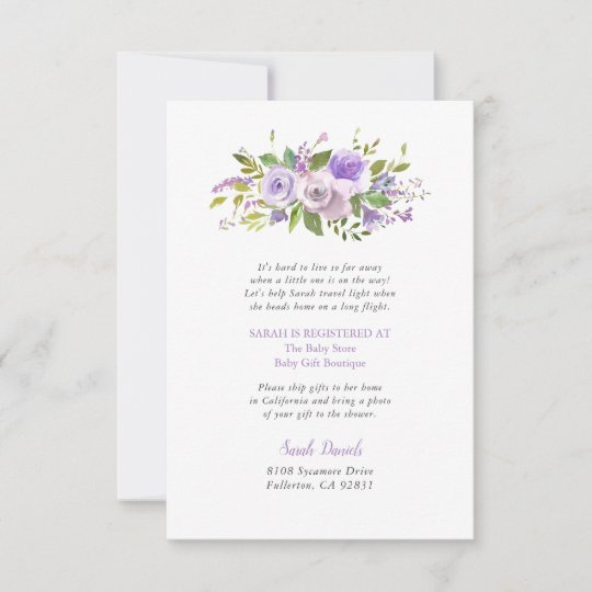 Lilac Floral Long Distance Baby Shower Insert Card