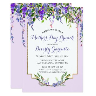 Lilac Floral Mother's Day Brunch Invitation