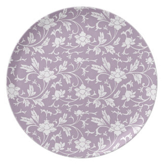 Lilac Floral Pattern Plates