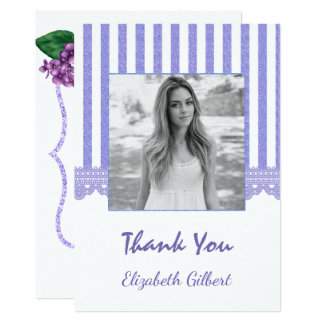 Lilac Floral Photo Graduation Thank You Card