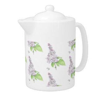 Lilac Floral Sketch Teapot at Zazzle