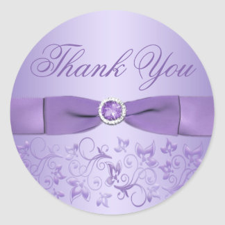 Lilac Floral Thank You Sticker