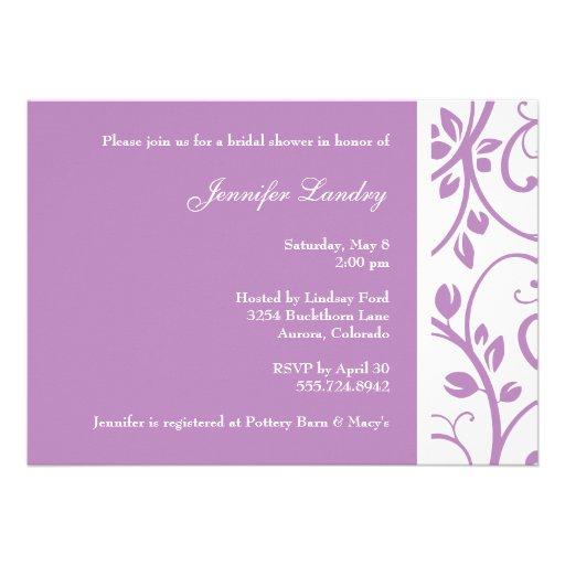 Lilac Floral Vine Bridal Shower Invitation