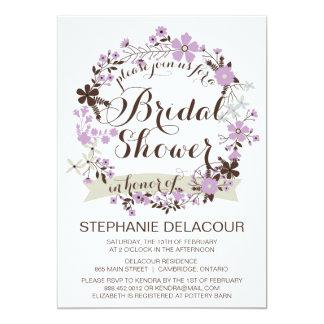 Lilac Floral Wreath Bridal Shower Invitations