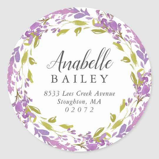 Lilac Floral Wreath Round Return Address Label