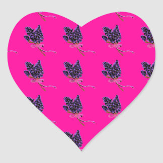 Lilac Flower Design in Summer Flowers Heart Sticker