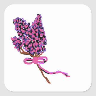Lilac Flower Design in Summer Flowers Square Sticker