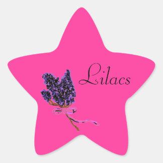 Lilac Flower Design in Summer Flowers Star Sticker