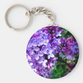 Lilac Flower Basic Round Button Keychain