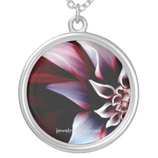 Lilac flower round pendant necklace