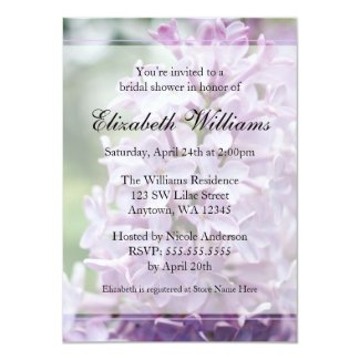 Lilac Flowers Bridal Shower Card
