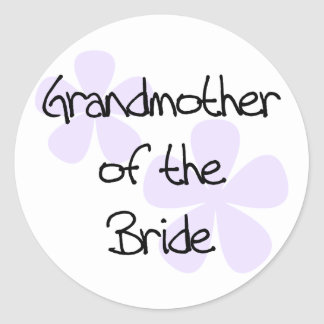 Lilac Flowers Grandmother of Bride Classic Round Sticker