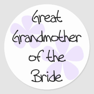Lilac Flowers Great Grandmother of Bride Round Stickers