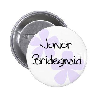 Lilac Flowers Jr Bridesmaid Pinback Button