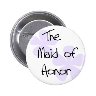 Lilac Flowers Maid of Honor Button