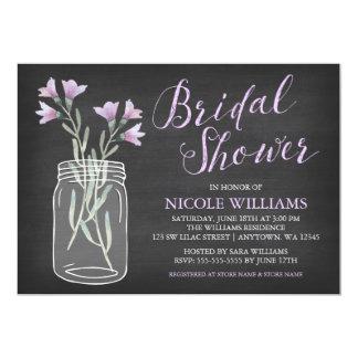 Lilac Flowers Mason Jar Chalkboard Bridal Shower Card