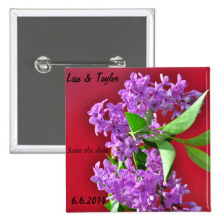 Lilac flowers pinback buttons