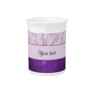 Lilac Flowers & Purple Bokeh Beverage Pitcher