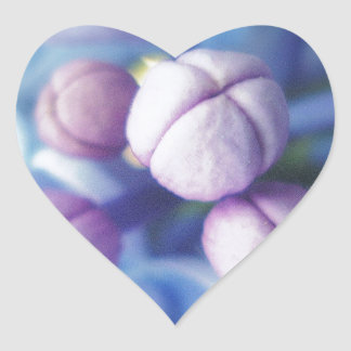 Lilac Flowers Heart Stickers