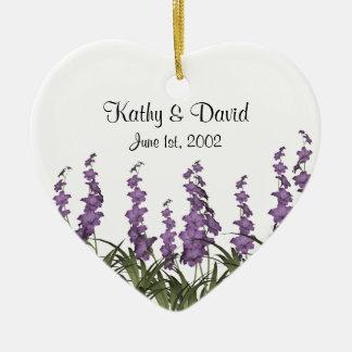 Lilac Flowers Wedding Ceramic Ornament