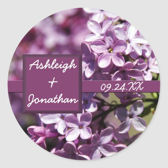 Lilac Flowers Wedding Favor Label Stickers