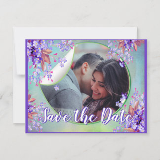 Lilac Forget-me-not Flower Save the dates Announcement