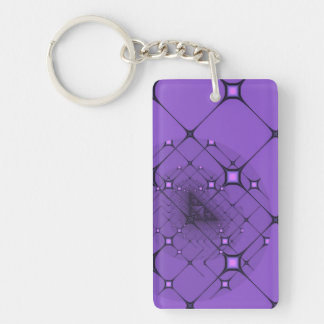 Lilac fractal Single-Sided rectangular acrylic keychain