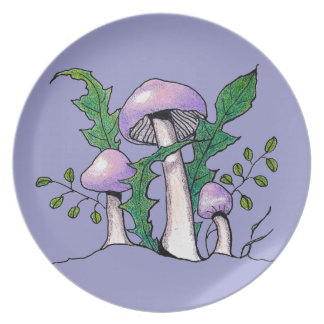 Lilac Geophylla Mushrooms: Color Pencil Drawing Plate