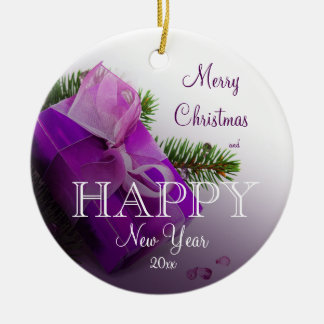 Lilac gift box and green branch photo ceramic ornament