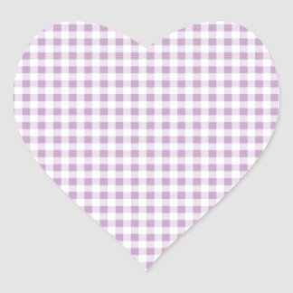 Lilac Gingham Heart Sticker