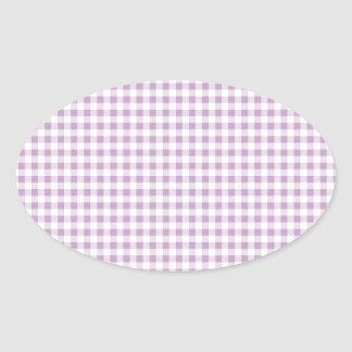 Lilac Gingham Oval Sticker