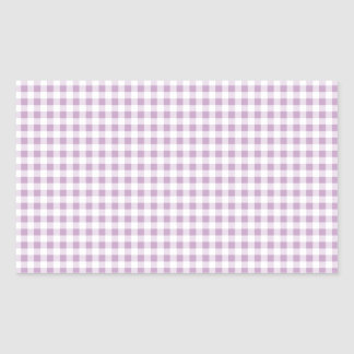 Lilac Gingham Rectangular Sticker