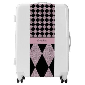 Lilac Glitter Checkers & Diamonds Luggage