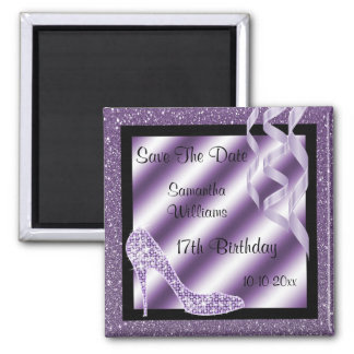 Lilac Glittery Stiletto & Streamers 17th Birthday Magnet