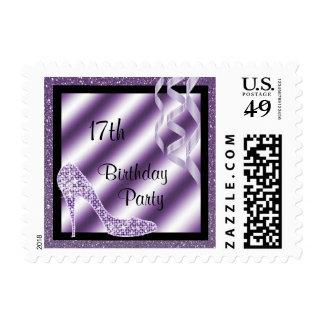 Lilac Glittery Stiletto & Streamers 17th Birthday Postage