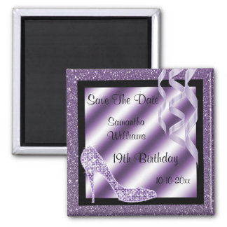 Lilac Glittery Stiletto & Streamers 19th Birthday Magnet