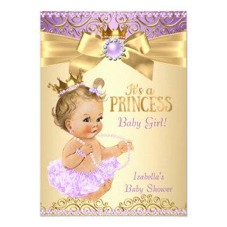 Lilac Gold Ballerina Princess Baby Shower Blonde Card