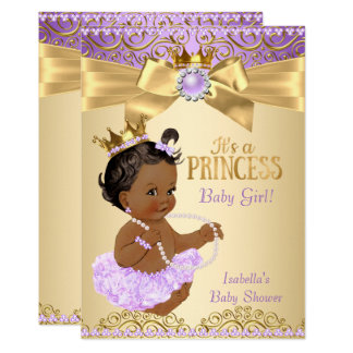 Lilac Gold Ballerina Princess Baby Shower Ethnic Card