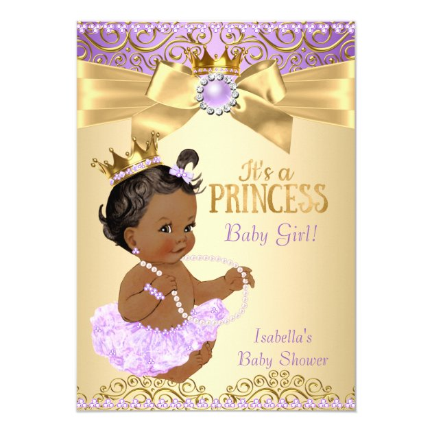lilac gold ballerina princess baby shower ethnic card   zazzle, Baby shower invitations