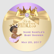 Lilac Gold Ballerina Princess Baby Shower Ethnic Classic Round Sticker