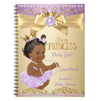 Lilac Gold Ballerina Princess Baby Shower Ethnic Spiral Notebook