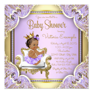 Lilac Gold Ethnic Princess Baby Shower Invitations