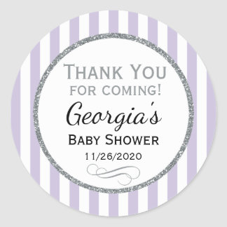 Lilac Gray Baby Shower Thank You Favor Tags