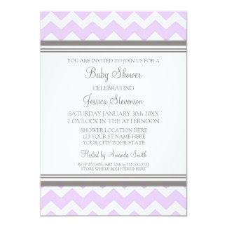 "Lilac Gray Chevron Custom Baby Shower Invitations 5"" X 7"" Invitation Card"