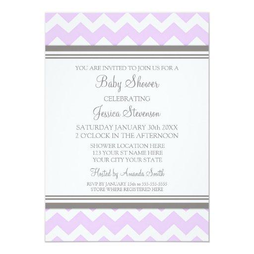 Lilac Gray Chevron Custom Baby Shower Invitations