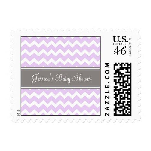 Lilac Gray Chevron Custom Baby Shower Stamps