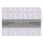 Lilac Gray Damask Bridal Shower Thank You Card