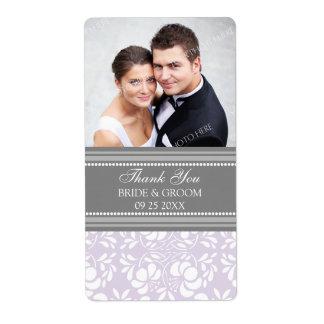 Lilac Gray Damask Photo Wedding Labels